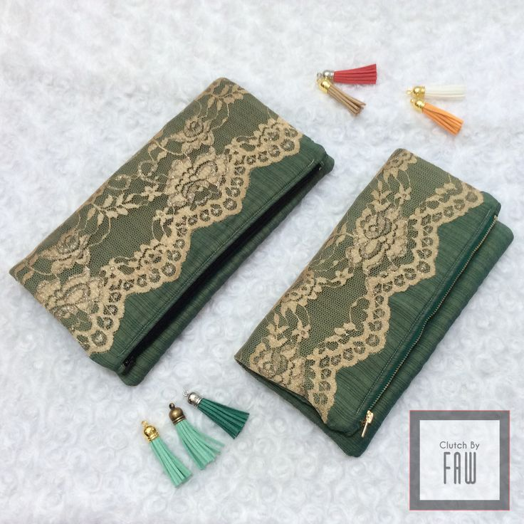 Plain green with gold lace foldover clutch