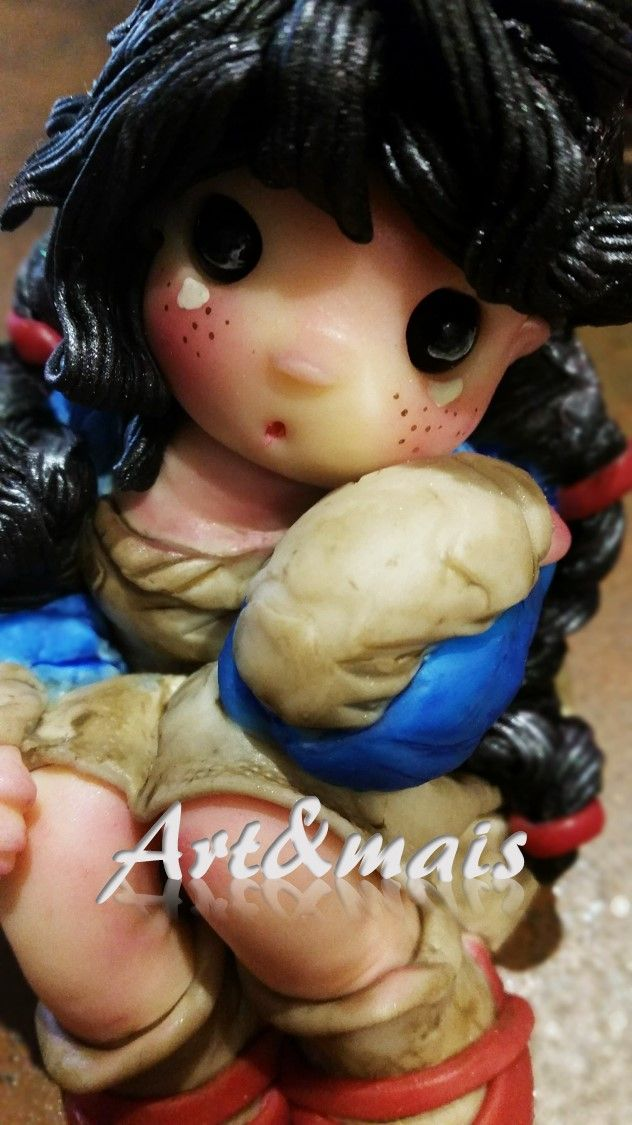 doll con trecce/ Art&mais/ https://it.pinterest.com/pin/783978247603365317/ polymer clay/ bamboline in pasta di mais/ doll in pasta di mais/ oggetti fai da te/ bomboniere in pasta di mais/doll in porcelana fria/pasta di mais