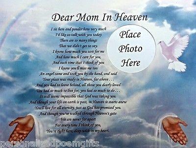 DEAR MOM IN HEAVEN MEMORIAL POEM IN LOVING MEMORY OF DECEASED MOTHER    Home & Garden, Home Décor, Posters & Prints   eBay!