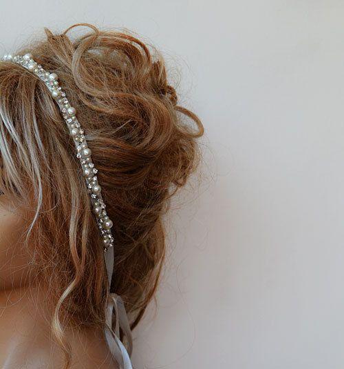 Wedding headband  Rhinestone and Pearl  headband Bridal by ADbrdal, $37.00