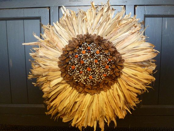 Fall Natural Corn Husk Sunflower Pine Cone Mini Pumpkin Wreath/Wall Decor/Rustic/Country/Primitive on Etsy, $60.00