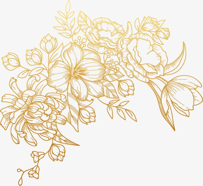 Vektor Rospisyu Zolotoj Cvetok Vector Flowers Vector Art Line Art Flowers
