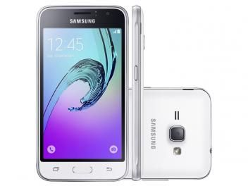 "Smartphone Samsung J1 8GB Branco Dual Chip 3G - Câm. 5MP Tela 4,5"" Proc. Quad Core Android 5.1"