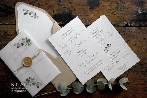 Costo Partecipazioni Matrimonio 2018.Partecipazione Nozze In Carta Cotone E Carta Trasparente Con