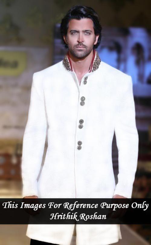 Hrithik roshan white short polyester sherwani. It has bottom as matching black trouser.