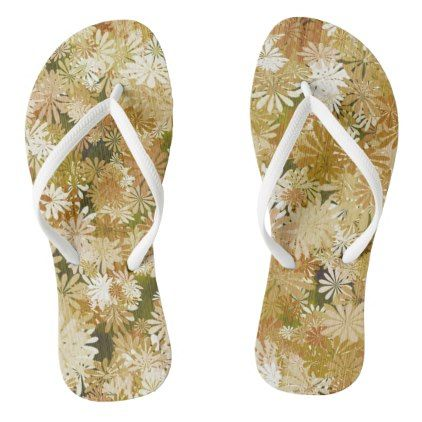 Stylish Floral Flip Flops - patterns pattern special unique design gift idea diy