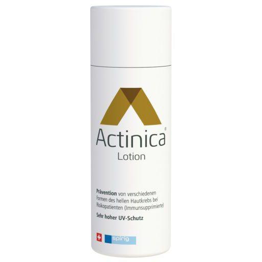 ACTINICA Lotion 100 g. Zur Prävention von verschiedenen Formen des hellen Hautkrebs bei Risikopatienten (Immunsupprimierte) und von Lichtdermatosen. Actinica Lotion – der erste Sonnenschutz, für den eine Reduktion des Risikos bei hellem Hautkrebs klinisch nachgewiesen ist.
