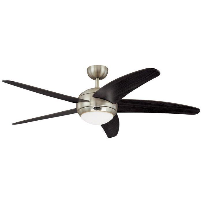 This Bendan One-Light 52-Inch Five-Blade Indoor Ceiling Fan offers exceptional circulation and modern style for larger rooms. Its satin chrome finish contrasts nicely with the five wengue plywood blades. The indoor fan features a 153-by-18-millimeter cold-rolled steel motor with a dual capacitor for powerful, quiet air circulation. Three fan speeds (high/medium/low) and a switch keep you cool in the summer and warm in the winter.