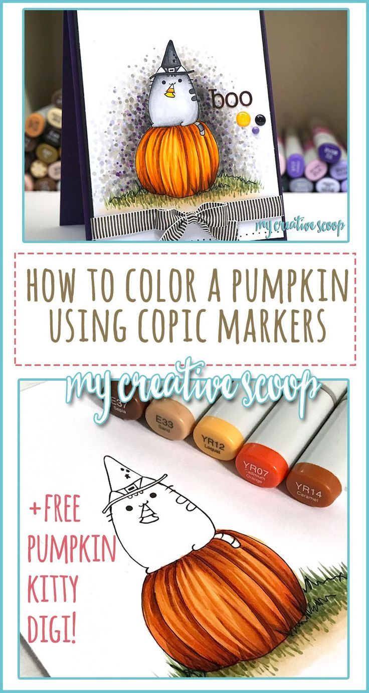 How to Color a Pumpkin using Copic Markers FREE Digi Stamp