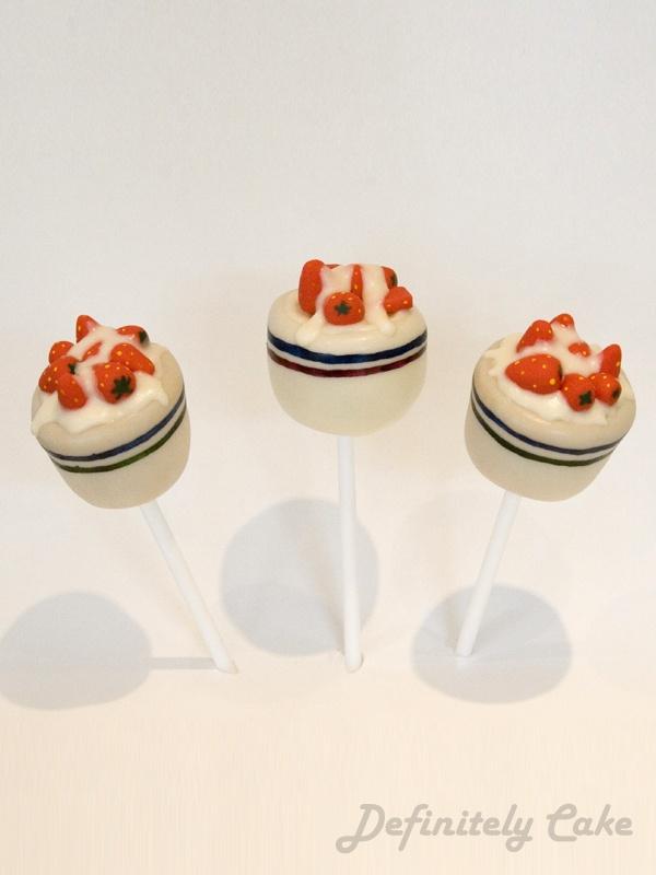 Wimbledon Tennis  themed Strawberries & Cream Cake Pops
