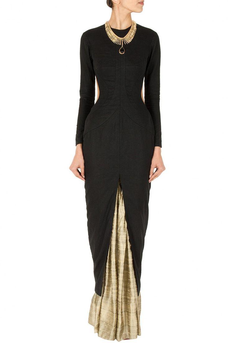NIKHIL THAMPI Black cut out kurta with skirt | Pernia's Pop-Up Shop