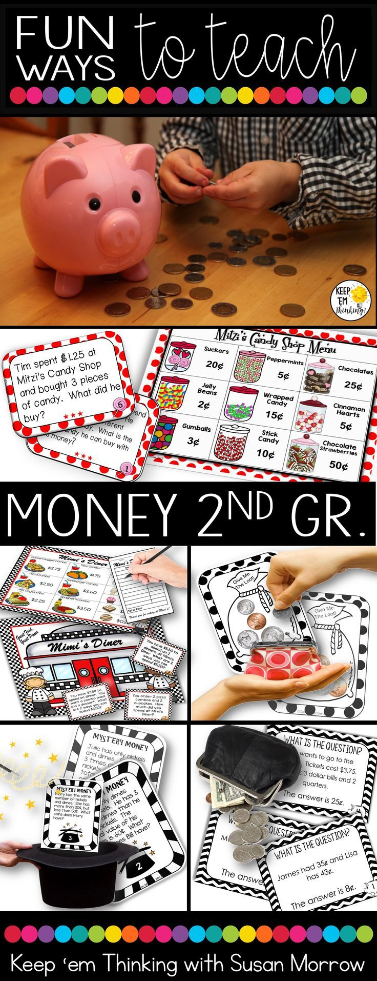 This unit has EVERYTHING you need to teach money to 2nd grade!  You'll find games, centers, and activities that are differentiated for every level of student in your class.  Many of these money lessons focus on open ended activities, critical thinking and logic, and using money in real world applications.  Perfect for 2nd and 3rd grade!