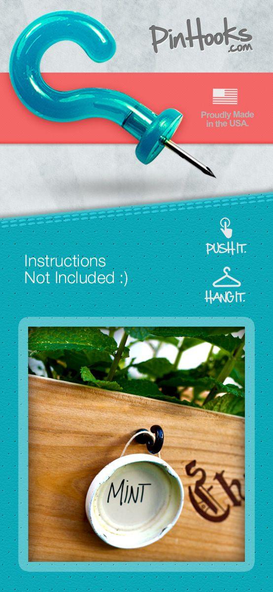 Pinhooks. Hangable push pins. such a smart idea!