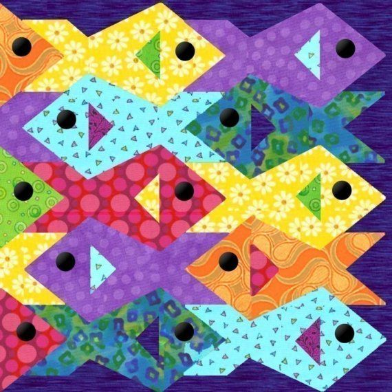 Tessellating Fish - Paper pieced quilt pattern at Piece By Number