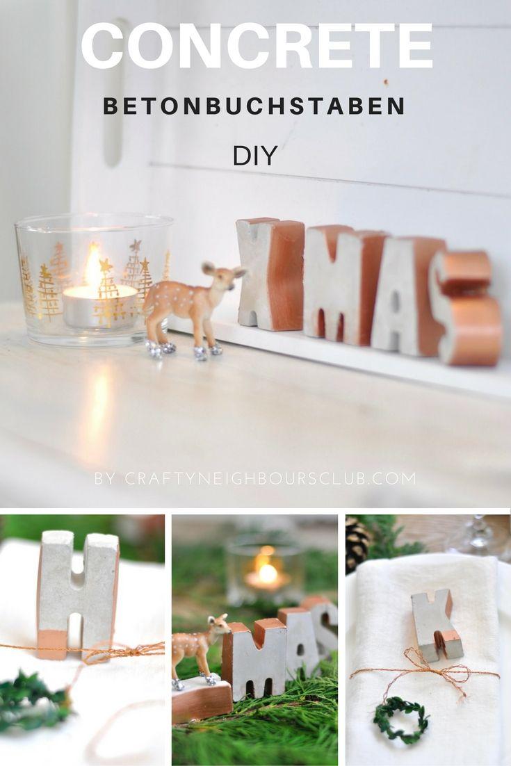 DIY weihnachtliche Buchstaben aus Beton und Farbe auf craftyneighboursclub.com