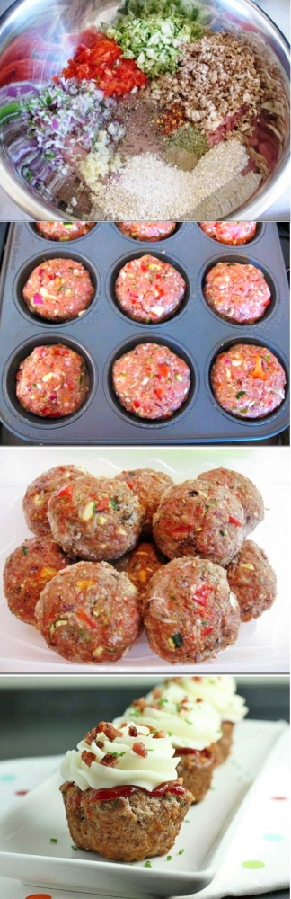 Savory Meatball Cupcakes with Mashed Potato Frosting - @Angela Gray Gray Gray Gray @ Cupcakepedia