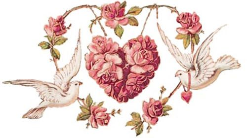 RoManTiC ViCToRiaN DoVeS & PinK RoSe HeaRTs SHaBbY WaTerSLiDe DeCALs