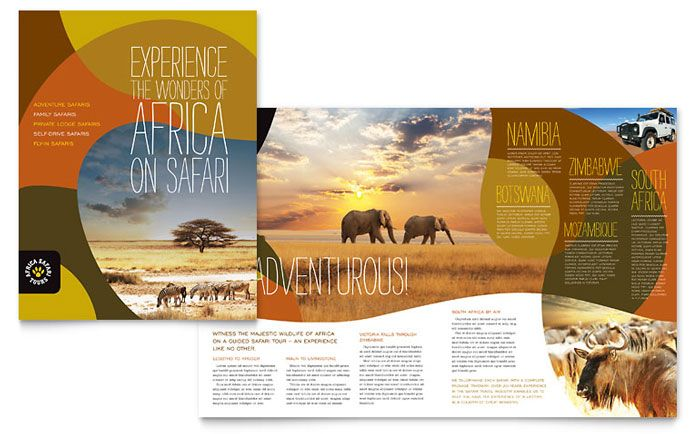 African Safari Brochure Design Template By Stocklayouts  Graphic