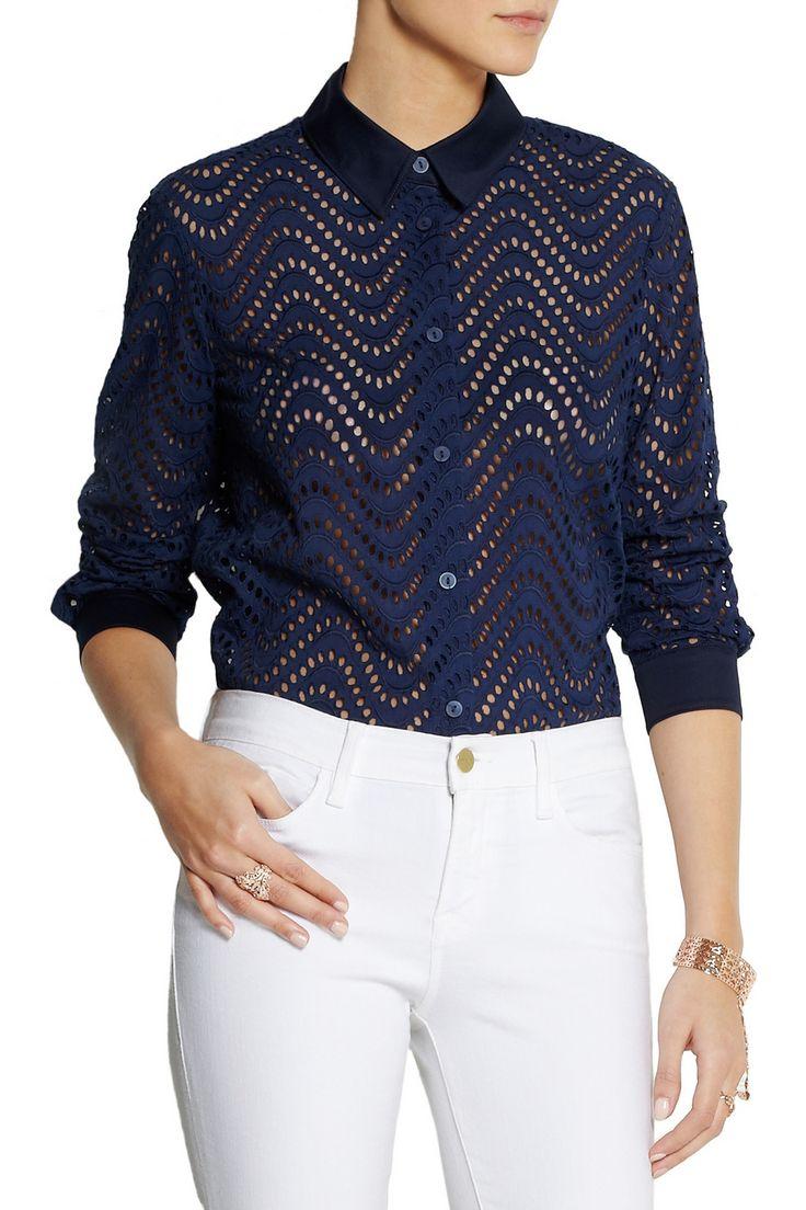 Victoria Beckham DenimBroderie anglaise cotton shirt