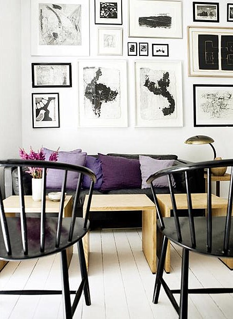 Black & white gallery wall with pops of lavender, lilac & purple