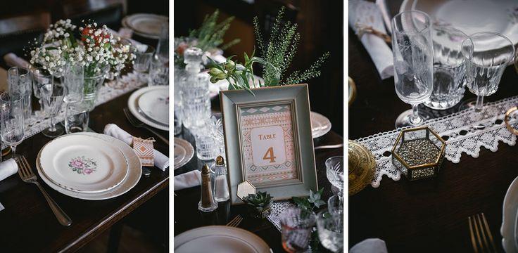 Vintage wedding table decoration - vintage cutlery and plates - Zephyr & Luna photography