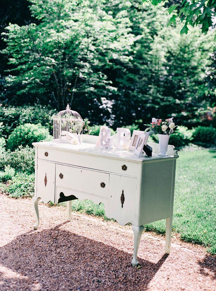 Dresser. Floral Design: The Green Flamingo. Photography: Nikki Santerre Photography - nikkisanterre.com