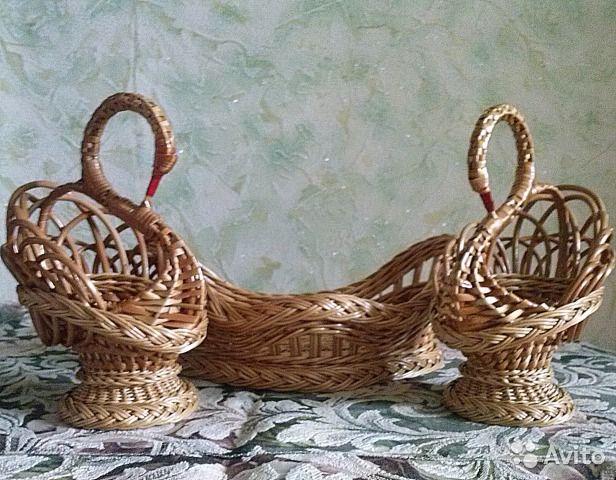 Плетёные лебеди с подносом - корзинкой купить в Кировской области на Avito — Бесплатные объявления на сайте Avito