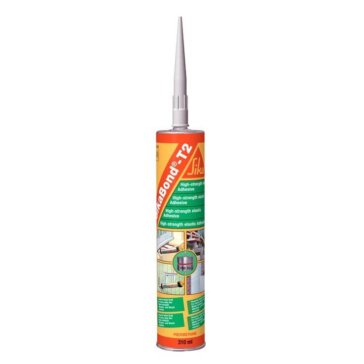 SikaBond®-T2 - SikaBond®-T2:Adhesivo elástico de alta viscosidad (tixotrópico) y alta resistencia. Tiene una excelente adherencia sobre hormigón, ladrillo, piedra cerámica, madera, aluminio, acero, yeso, PVC rígido, poliuretano, plásticos reforzados con fibras, etc.