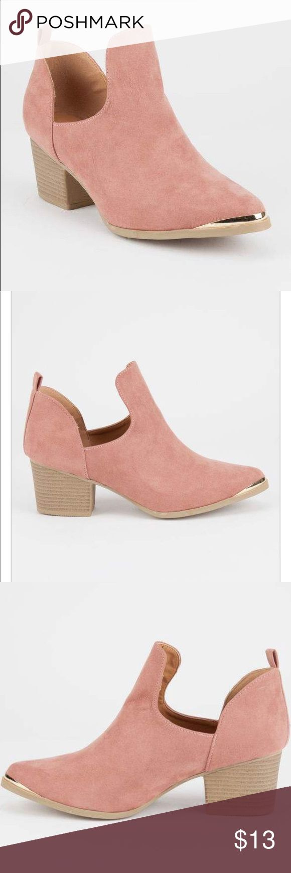 Pink Gold Toe Suede Cutout Booties Super cute pink suede booties. Looks great with jeans or a dress. Super comfortable and girly. In good condition! Tilly's Shoes Ankle Boots & Booties