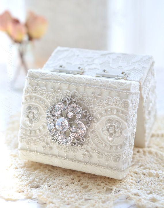 Elegant Ring Bearer Box with Pillow Insert by AbbysPaperieGarden