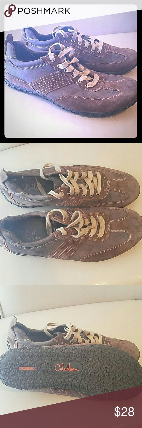 Mens Cole Haan w/ Nike Air Brown Leather Sneakers An absolutely amazing pair of Cole Haan sneakers. These have Nike technology and are in great used condition. They are brown leather with laces and have a great amount of tread left. Shoes Sneakers