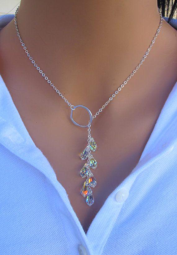 Sautoir cristal en argent STERLING. Inspiré par par RoyalGoldGifts