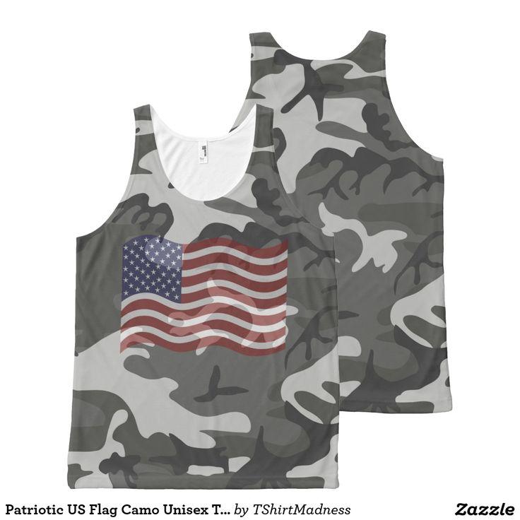 Patriotic US Flag Camo Unisex Tank