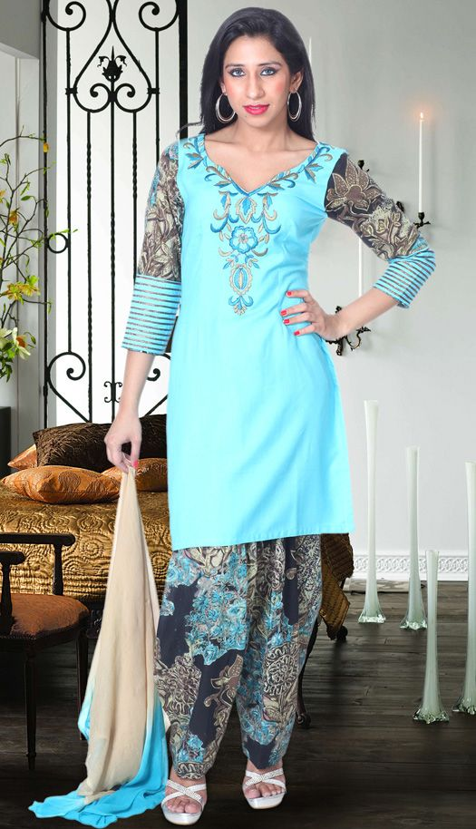 Buy online latest Light Turquise cotton Salwar #CasualWearSuit, various designs and colors available.. http://bit.ly/1wAG0ol