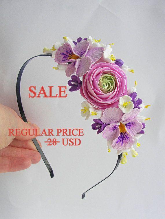Spring Sale Виола цветок Корона, лютик цветы повязка, невеста цветок Корона, Цветочный головной убор, цветок головной убор, Сиреневый головная повязка, Страна