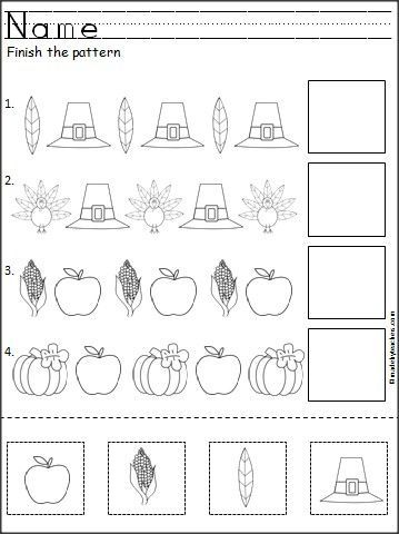 This is a free Thanksgiving pattern worksheet for Kindergarten or Pre-K math for practicing ABA patterns. Students cut, paste, and color the Thanksgiving pictures to practice their fine motor skills and pattern recognition.: