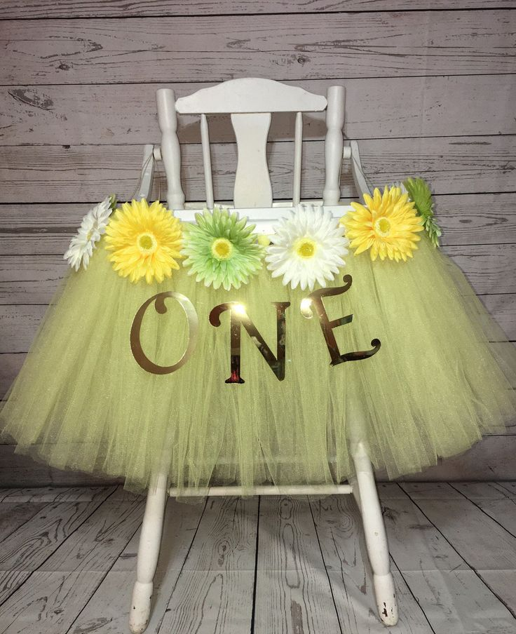 High Chair Tutu - High Chair Skirt- Yellow Highchair tutu- Highchair skirt- High Chair Skirt- 1st Birthday- High Chair Tutu- Smash Cake Tutu by AvaryMaeInspirations on Etsy