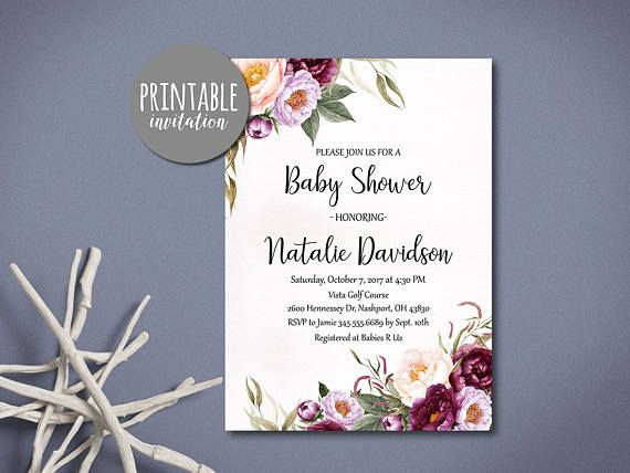 Floral Baby Shower Invitation Printable Baby shower Invitation