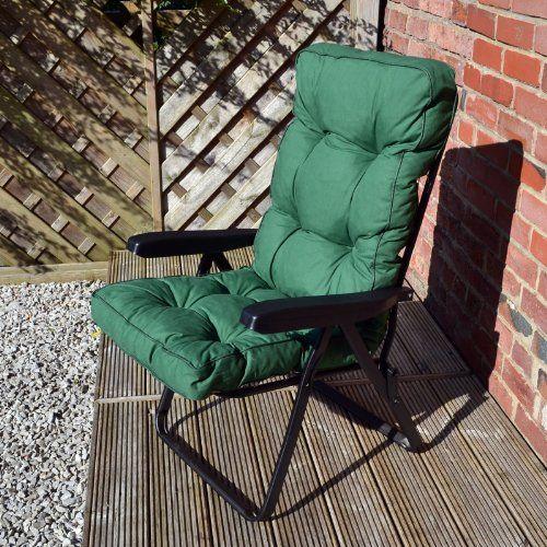 luxury recliner chair cushions. alfresia garden recliner chair with luxury cushion in green (black frame) http: cushions