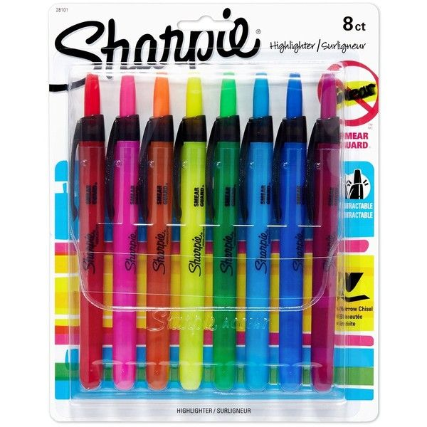 Sharpie Accent Retractable Highlighters, Assorted, Fine Point, 8/Pack ($6.98) ❤ liked on Polyvore featuring home, home decor, office accessories, school supplies, art stuff, desk and sharpie highlighters
