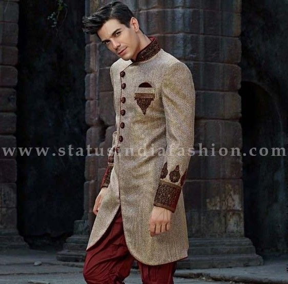 Mens Wear Groom Wedding Dress Sherwani Designer Indo Western Bright