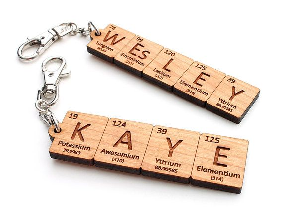 Custom Periodic Table Element Name Key Chain - Backpack Clip . Custom Chemistry Gift for Science Geeks and Teachers by Nestled Pines