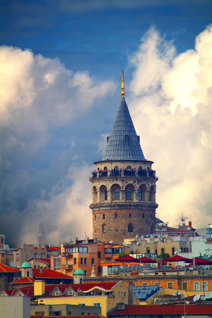 The Galata Tower, a medieval stone tower in the Galata/Karaköy quarter of Istanbul, Turkey,
