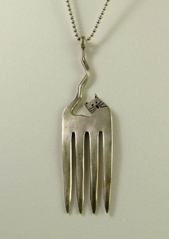 Corrine The Fork Cat - Up Cycled Sterling Plated Fork and Sterling Silver - Art Jewelry Pendant - 1212