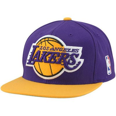 Mitchell & Ness Los Angeles Lakers XL Logo Two Tone Snapback Hat - Purple/Gold