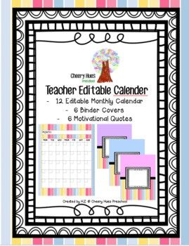 This Teacher Editable Calendar helps you keep your teacher life organized. Comes in blank calendar templates in Powerpoint format. Use it to track classroom activities and events, or you can use it with your students for calendar activities. Designed in pastel stripes, it also comes with 6 pastel binder