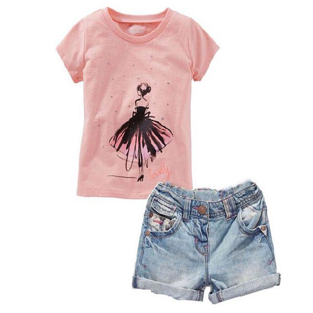 TZ-203, hello kitty детская одежда устанавливает мультфильм розовый футболка + шорты 2 шт. девочка платье костюм хлопок детская одежда для девочек