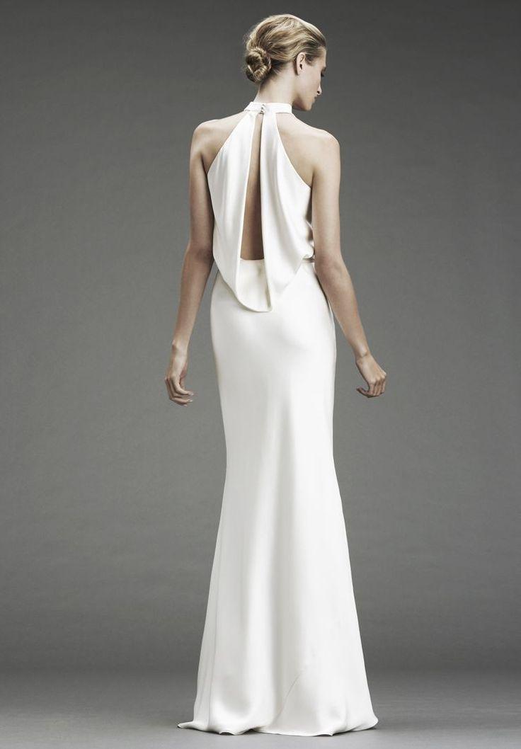 Satin halter v-neck column wedding dress with gorgeous back detailing