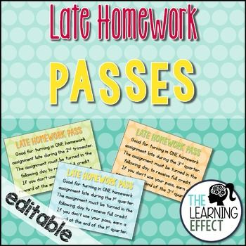 Late Homework Passes {Editable} | The Learning Effect