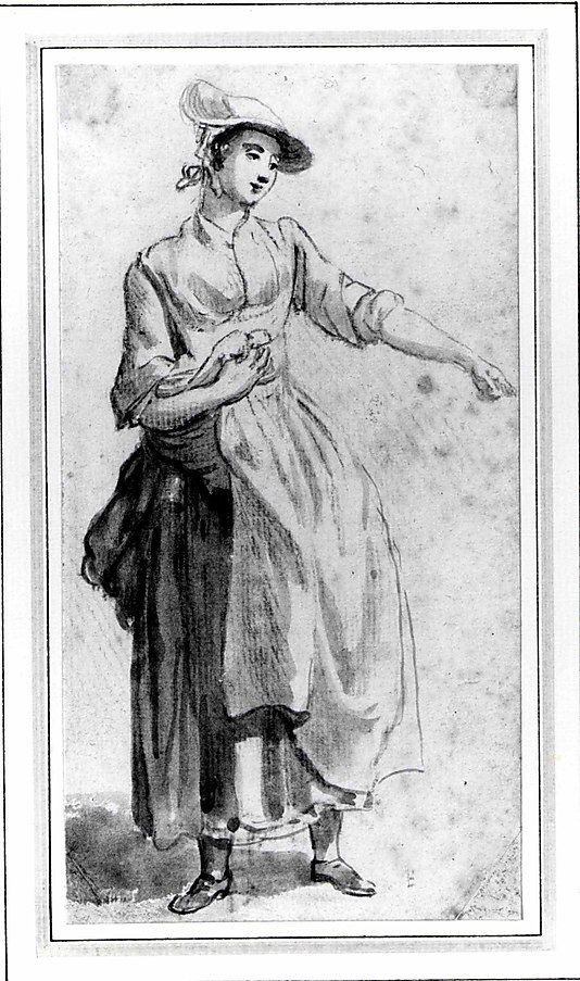 A Young Woman, Full Length, with Her Left Arm Outstretched  Paul Sandby (Nottingham 1730–London 1809)